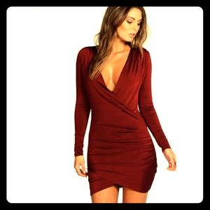 Slinky Drape Front Bodycon Dress